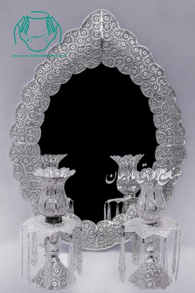 قیمت فروش آینه شمعدان جدید ملیله نقره طرح دالبر