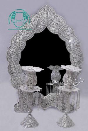 قیمت فروش آینه شمعدان ملیله ابریشمی طرح بته جقه
