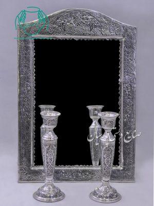 قیمت فروش آینه شمعدان قلم زنی طرح اسلیمی