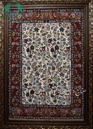 قیمت فروش تابلو فرش دستبافت کرک و ابریشم دو خفتی اصفهان