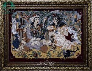 قیمت فروش تابلو فرش دستباف اصفهان طرح لیلی و مجنون