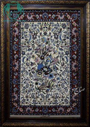 قیمت فروش تابلو فرش دستبافت طرح گل و مرغ زمینه طلایی