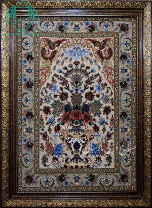 قیمت فروش تابلو فرش دستبافت کرک و ابریشم طرح گلدانی