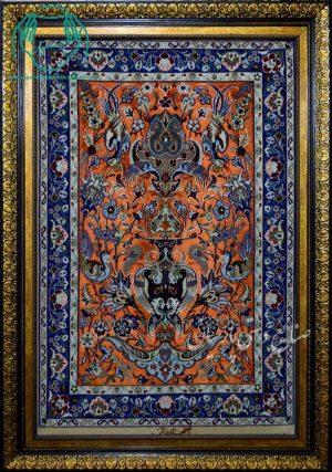 قیمت فروش تابلو فرش دستبافت زمینه ابریشم نارنجی