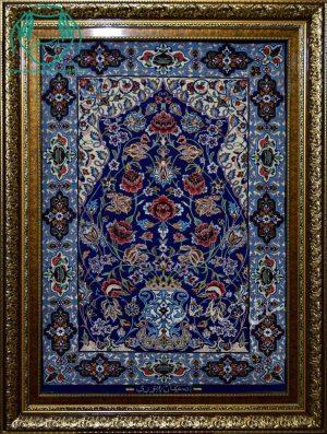قیمت فروش تابلو فرش دستبافت کرک و ابریشم سورمه ای طرح گلدان