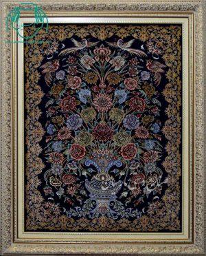 قیمت فروش تابلو فرش دستبافت ابریشم طرح گلدان زمینه مشکی