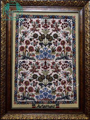 قیمت فروش تابلو فرش دستباف کرک و ابریشم طرح یک طرفه