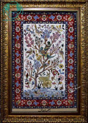 قیمت فروش تابلو فرش دستبافت کرک ابریشم طرح درخت