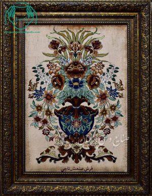 قیمت فروش تابلو فرش دستبافت طرح گلدانی کامل ابریشم