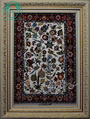 قیمت فروش تابلو فرش دستبافت کرک ابریشم طرح گل و مرغ
