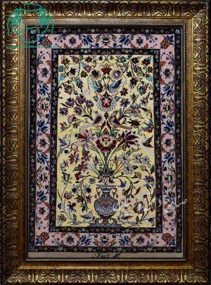 قیمت فروش تابلو فرش دستبافت کرک ابریشم طرح گلدانی طلایی