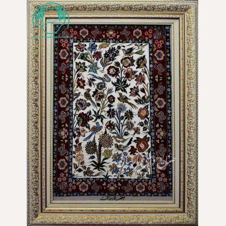 تابلو فرش دستبافت کرک ابریشم طرح گل و مرغ