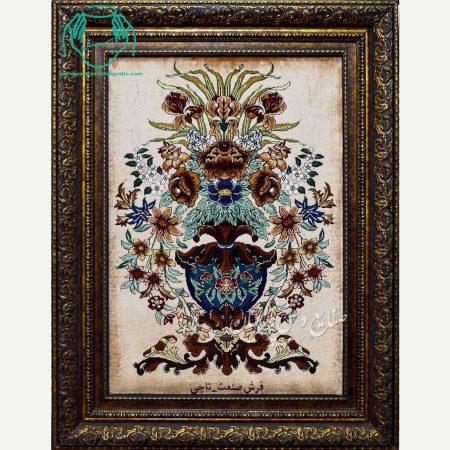 تابلو فرش دستبافت طرح گلدانی کامل ابریشم
