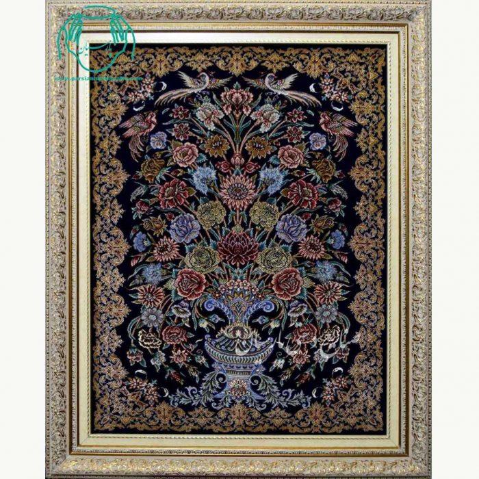تابلو فرش گلدان مشکی