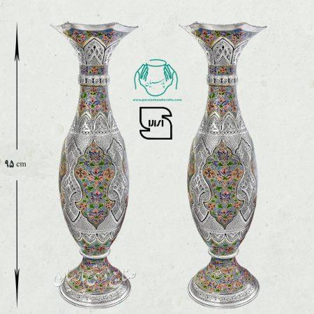 گلدان موشکی مسی بزرگ تلفیق هنر قلمزنی مینیاتور
