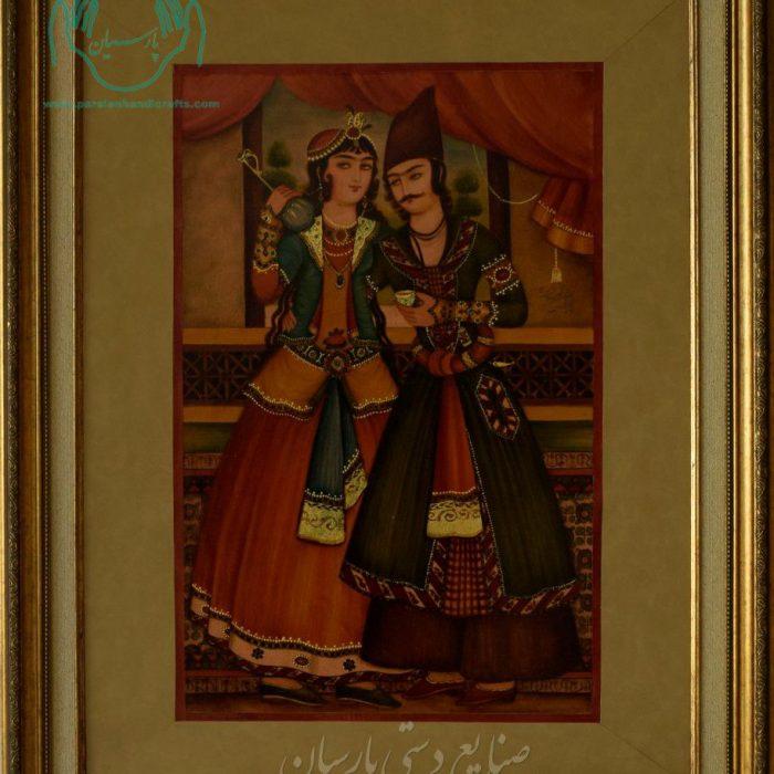 قیمت فروش نقاشی چرم زوج قاجار