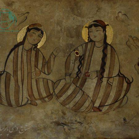 قیمت نقاشی روی چرم خشک ایرانی دوره ی تیموری دو بانوی نشسته
