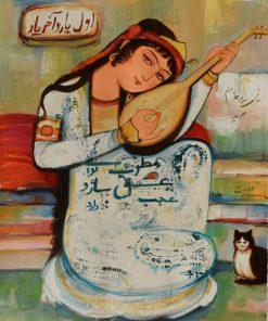 قیمت فروش نقاشی بانوی تار زن اول یار و آخر یار