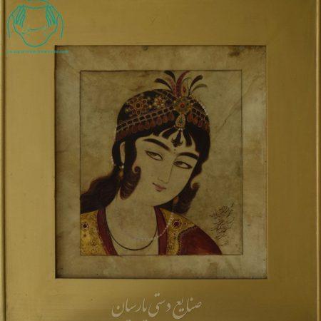 قیمت نقاشی ایرانی تک چهره قاجار روی پوست خشک