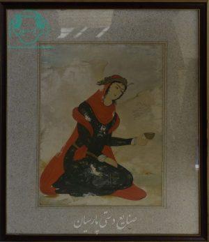 قیمت نقاشی ایرانی بانوی جام به دست نشسته دوره صفوی