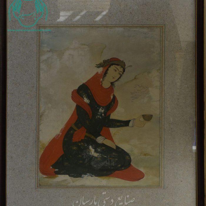 قیمت نقاشی ایرانی بانوی نشسته جام به دست دوره صفوی