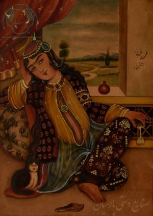قیمت نقاشی ایرانی زن قاجار با گربه روی چرم