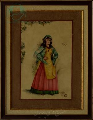 قیمت نقاشی ایرانی بانوی ایستاده روی چرم