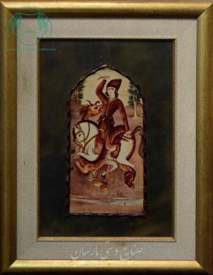 قیمت نقاشی ایرانی مرد سوارکار و اژدها روی چرم