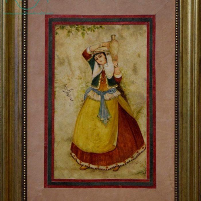 قیمت نقاشی ایرانی زن کوزه به دوش روی چرم