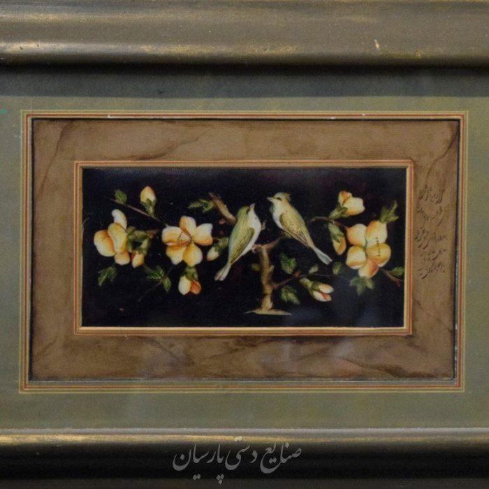 قیمت نقاشی ایرانی گل و مرغ زمینه مشکی روی چرم
