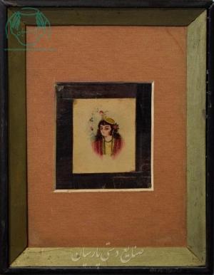 قیمت نقاشی ایرانی تک چهره روی چرم