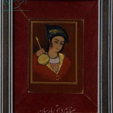 قیمت نقاشی ایرانی تک چهره صفوی قاب خاتم