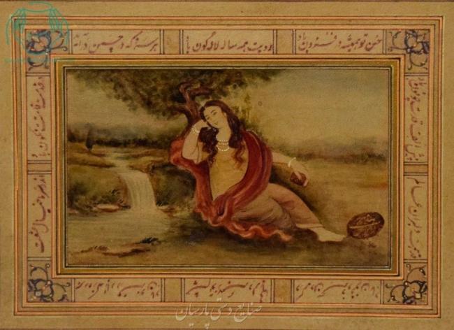 قیمت نقاشی ایرانی بانو نشسته با شعر روی چرم