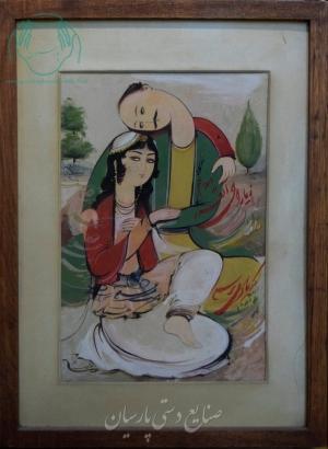 قیمت نقاشی ایرانی دو چهره مدرن روی بوم