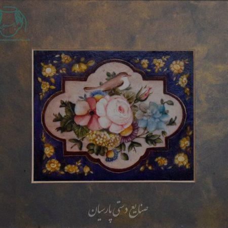 قیمت نقاشی ایرانی گل مرغ قاجار ترکیب مواد چرم