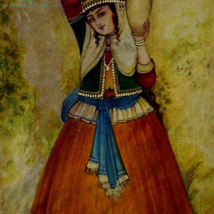 قیمت نقاشی ایرانی زن کوزه به دوش روی پوست