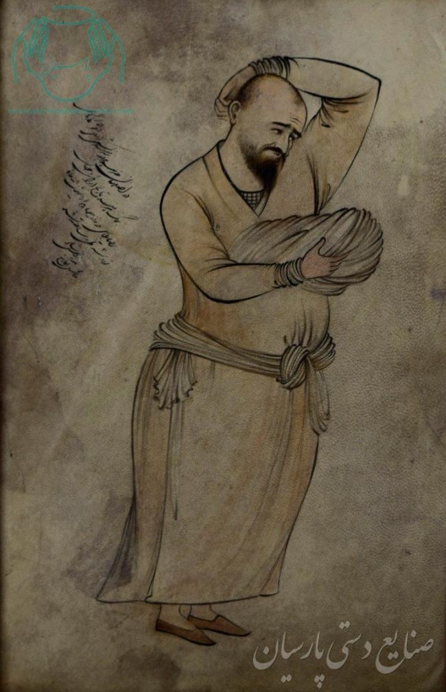 قیمت نقاشی ایرانی آخوند شرمنده روی پوست خشک