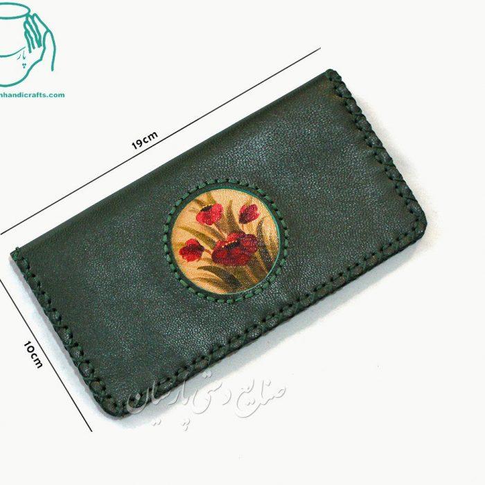 قیمت کیف پول پالتویی چرم طرح دایره رنگ سبز
