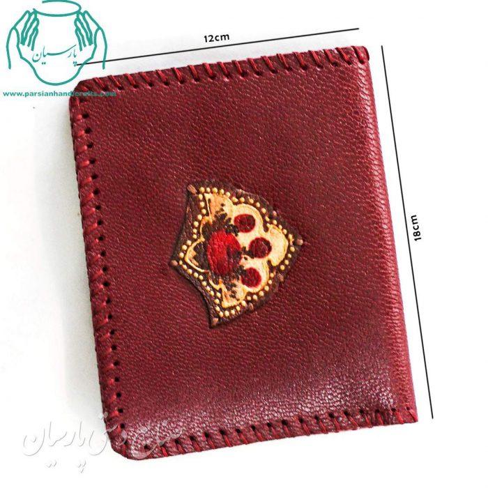 قیمت کیف پول جیبی چرم طرح نشان زرشکی
