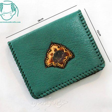 قیمت کیف پول جیبی چرمی طرح نشان سبز آبی