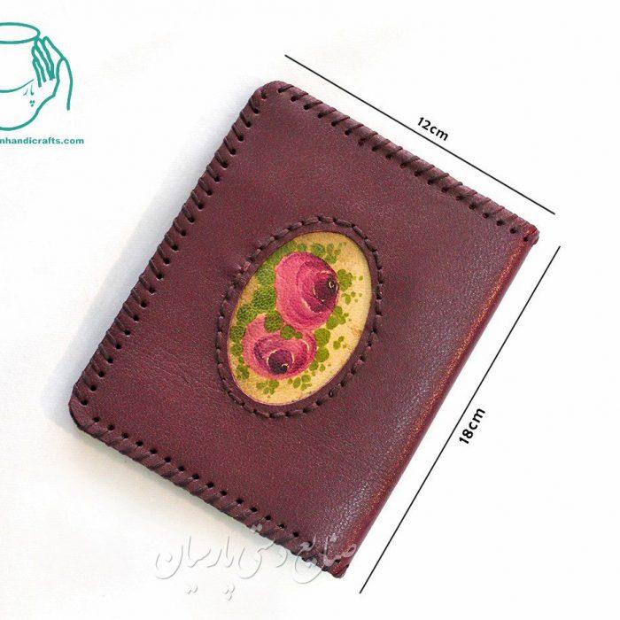 قیمت کیف پول چرم جیبی طرح بیضی بنفش