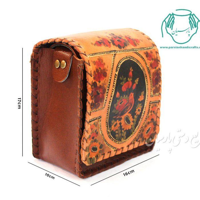قیمت کیف دستی چرم مدل اطلس نقاشی گل و مرغ سایز کوچک