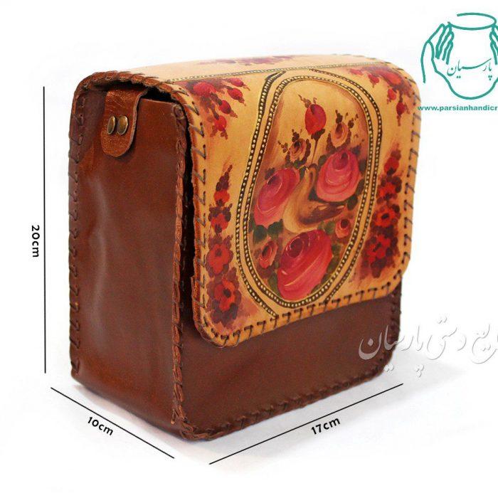 قیمت کیف دستی چرم زنانه نقاشی گل و مرغ سایز بزرگ رنگ قهوه ای