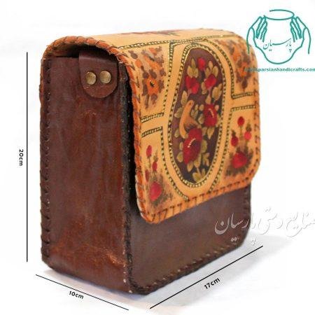 قیمت کیف چرم مدل اطلس نقاشی گل و مرغ سایز بزرگ سبز رنگ