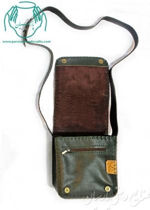 داخل کیف چرمی مدل اطلس نقاشی گل و مرغ سایز بزرگ رنگ قهوه ای