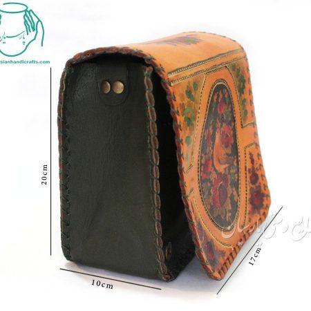 قیمت کیف چرمی مدل اطلس نقاشی گل و مرغ سایز بزرگ رنگ قهوه ای
