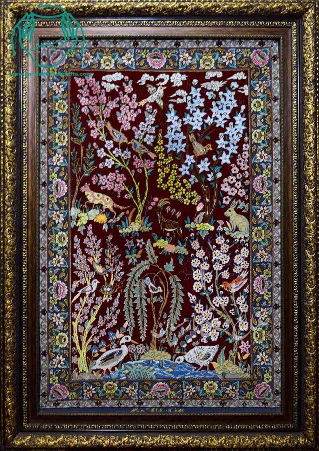 قیمت تابلو فرش دستبافت لاکی ابریشمی درختی