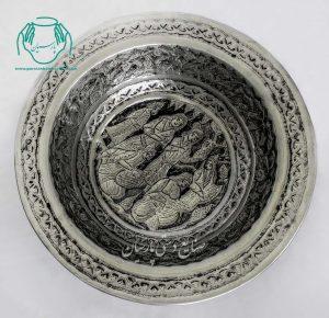 سنگاب مسی قلمزنی چهره طرح صورت ابکاری قلعصنایع دستی اصفهان