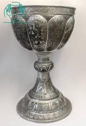 قیمت فروش سنگاب مسی قلمزنی اصفهان ترکیب صورت و گل و مرغ