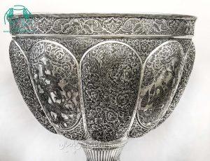 سنگاب مسی قلمزنی اصفهان ترکیب صورت و گل و مرغ